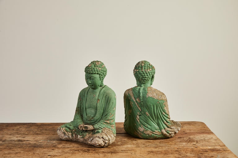 Vintage Green Seated Buddha Sculpture 10