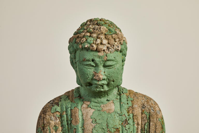 Vintage Buddha with original green paint with heavy patina. The sculpture can be applied indoors or outdoors.