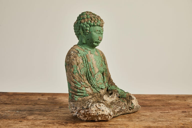 Late 20th Century Vintage Green Seated Buddha Sculpture
