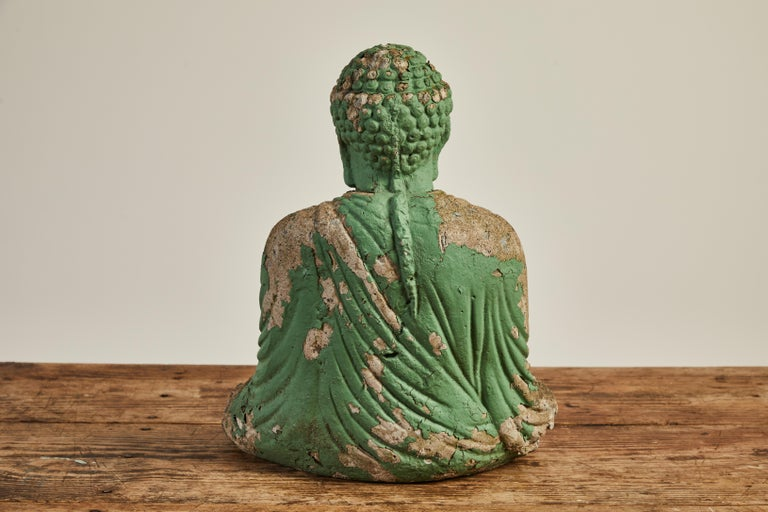 Ceramic Vintage Green Seated Buddha Sculpture