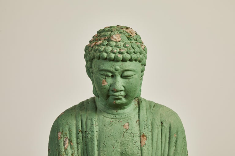 Vintage Green Seated Buddha Sculpture 2