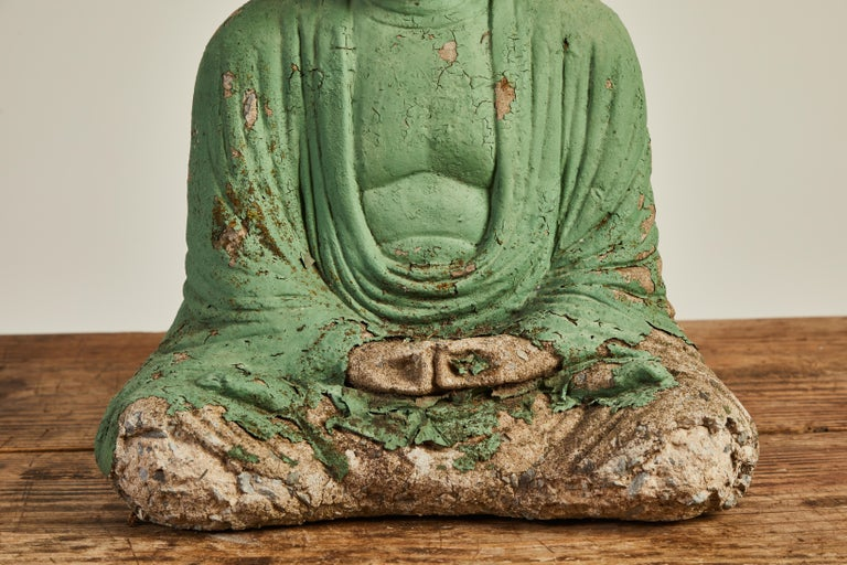 Vintage Green Seated Buddha Sculpture 3