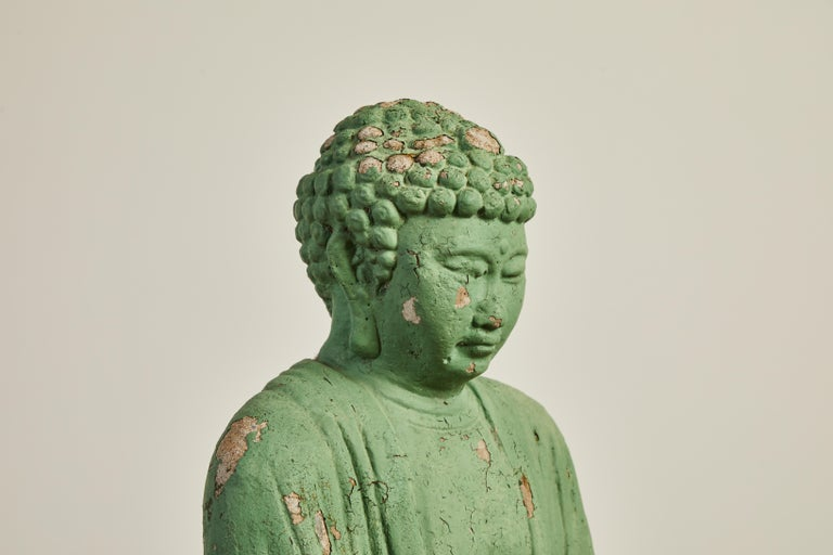 Vintage Green Seated Buddha Sculpture 4
