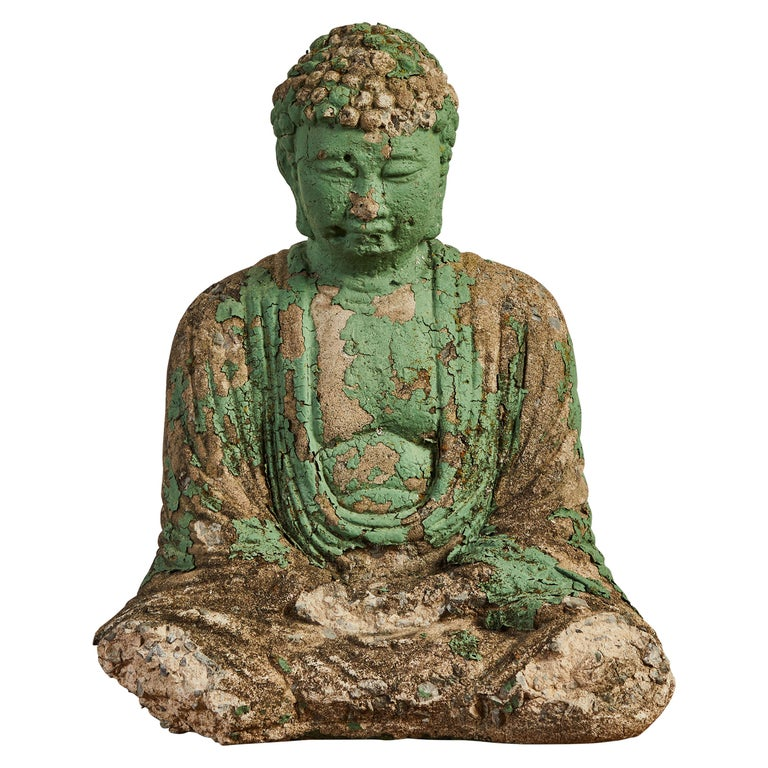 Vintage Green Seated Buddha Sculpture