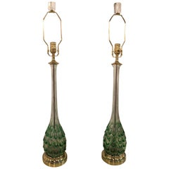 Vintage Green Swirl Glass Murano Pair of Table Lamps Brass Lucite Italian