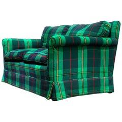Vintage Green Tartain Plaid Flannel Tweed Custom Down-Filled Loveseat, Cozy Chic