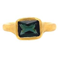 Vintage Green Tourmaline 22 Karat Gold Solitaire Ring