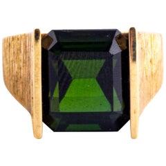 Vintage Green Tourmaline and 9 Carat Gold Ring
