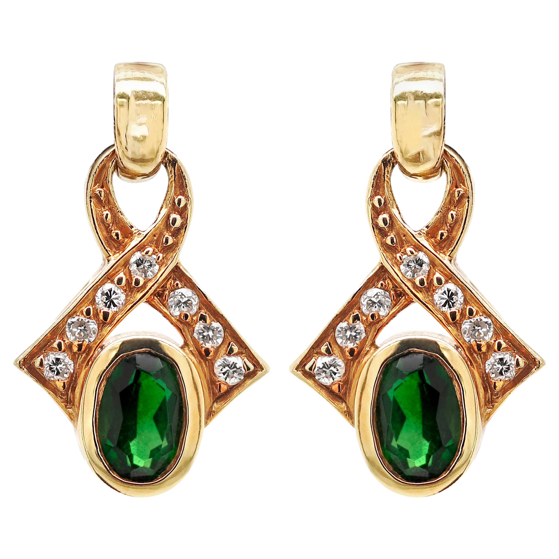 Vintage Green Tourmaline and Diamond 18 Carat Yellow Gold Dangle Earrings