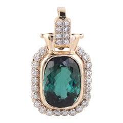 Vintage Green Tourmaline Diamond Pendant Enhancer 14 Karat Gold Estate Jewelry