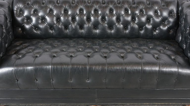 Polyester Vintage Green Tufted Chesterfield Leather Sofa