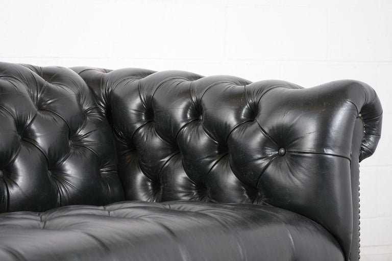 Vintage Green Tufted Chesterfield Leather Sofa 2