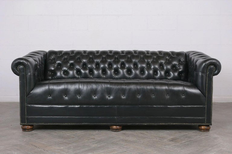 English Vintage Green Tufted Chesterfield Leather Sofa