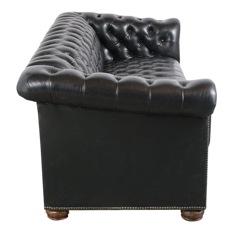 Vintage Green Tufted Chesterfield Leather Sofa 3