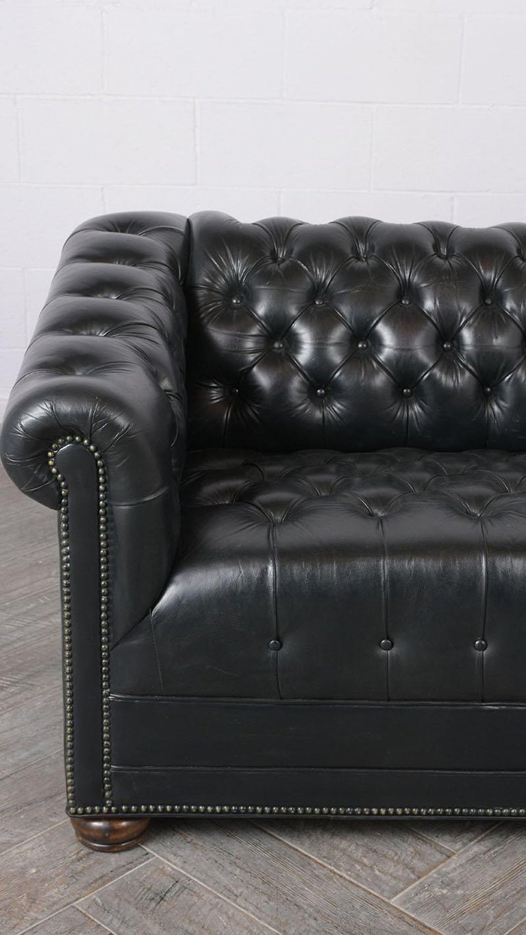 Dyed Vintage Green Tufted Chesterfield Leather Sofa