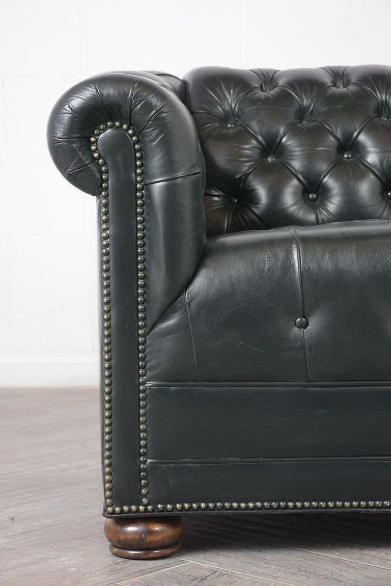 Mid-20th Century Vintage Green Tufted Chesterfield Leather Sofa