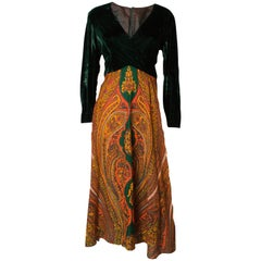 Vintage Green Velvet and Orange Print Gown