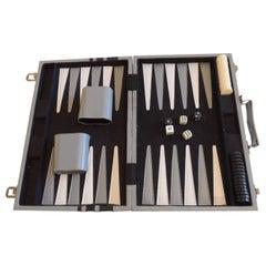 Vintage Grey and Black Backgammon Game Case