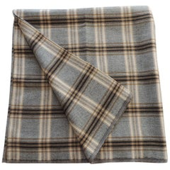 Vintage Grey and Tan Tartan Plaid Wool Decorative Throw