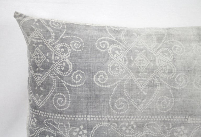 Beautiful vintage and antique grey dot printed pillow. Cotton printed front is beautifully faded, creating a multi toned grey pattern on the front. Backed in a natural linen with zipper closure. Back is in linen, finished with overlocked edges. Does