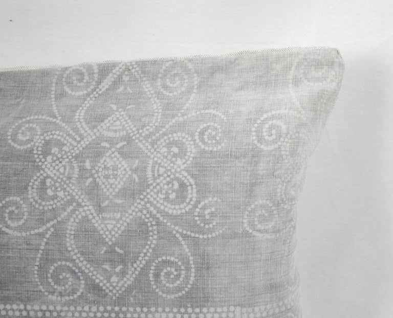 Vintage Grey Batik Style Pillow In Good Condition For Sale In Brea, CA