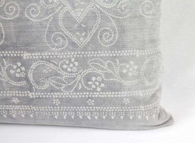 20th Century Vintage Grey Batik Style Pillow For Sale
