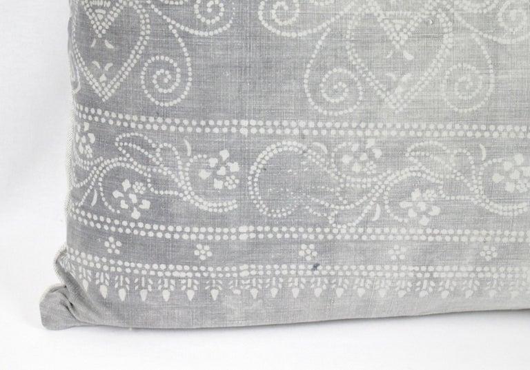 Cotton Vintage Grey Batik Style Pillow For Sale
