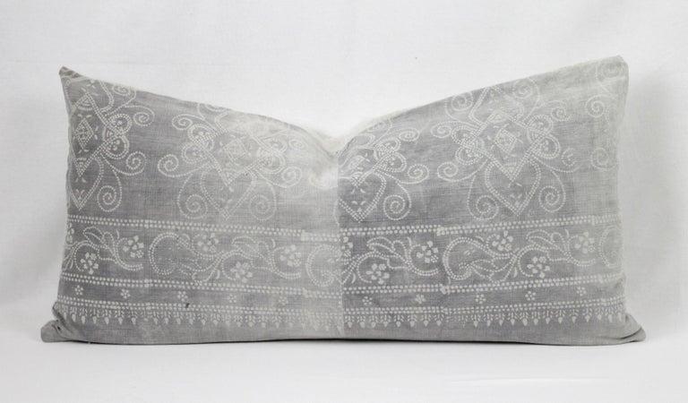 Vintage Grey Batik Style Pillow For Sale 1