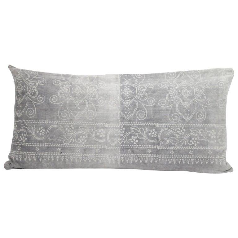 Vintage Grey Batik Style Pillow For Sale