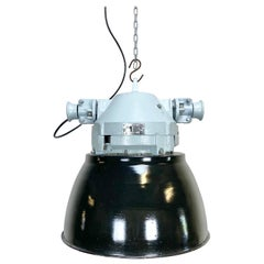 Vintage Grey Cast Aluminium Explosion Proof Lamp with Black Enameled Shade