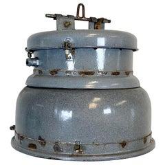 Vintage Grey Enamel Industrial Lamp, 1950s
