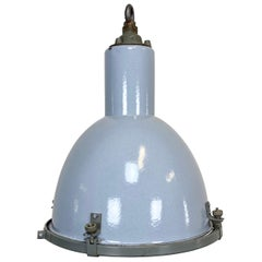 Vintage Grey Enamel Industrial Lamp with Glass Cover