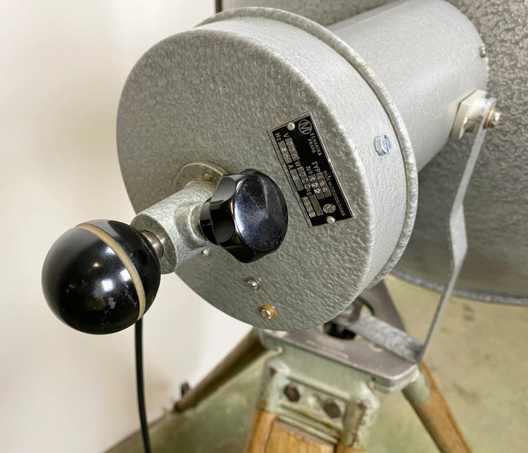 Vintage Grey Industrial Lamp on Wooden Tripod, 1960s For Sale 6
