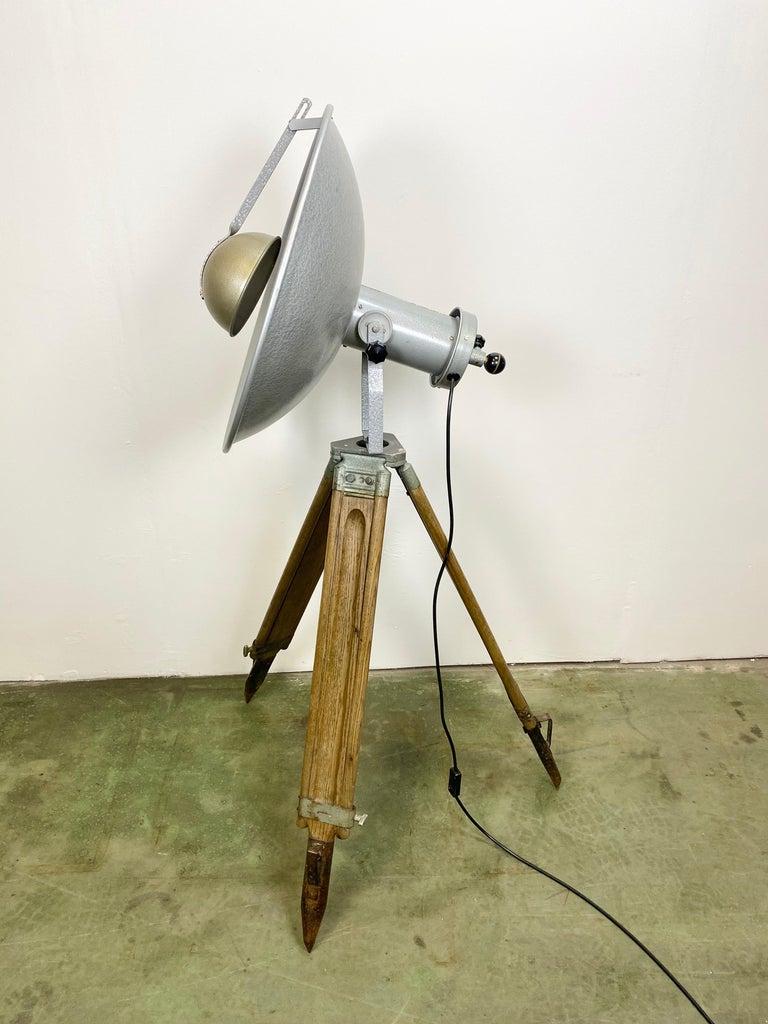 Czech Vintage Grey Industrial Lamp on Wooden Tripod, 1960s For Sale