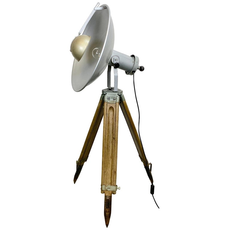 Vintage Grey Industrial Lamp on Wooden Tripod, 1960s For Sale