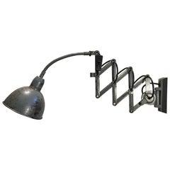 Vintage Grey Industrial Scissor Wall Lamp, 1960s