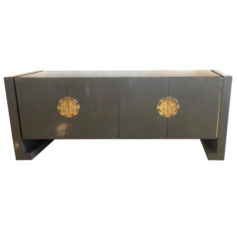 Vintage Grey Lacquered Br Century Furniture Ming Credenza Buffet Sideboard