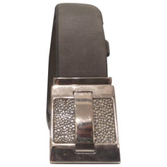 Vintage grey leather belt