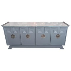 Vintage Grey Satin Lacquer Dresser with Glass Top and Greek Key Detail