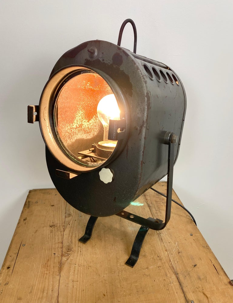 Glass Vintage Grey Theater Spotlight, 1960s For Sale