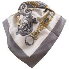 Vintage grey white gold silk scarf foulard
