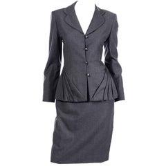 Vintage Grey Wool Bill Blass Unique Pleated Blazer Jacket & Skirt Suit