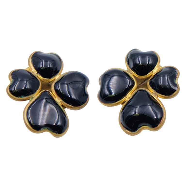 Vintage Gripoix Black Glass Earrings 1980s For Sale