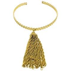 Vintage Grossé Chain Tassle Rigid Choker Necklace 1970