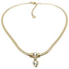 Vintage Grosse Crystal Heart Necklace