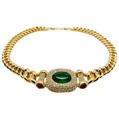 Vintage Grossé Faux Gold & Jewel Mughal Collar Chain Necklace 1980s