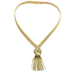 Vintage Grosse Germany Tassel Solid Yellow Gold Necklace, circa 1962