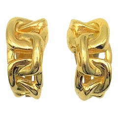 Vintage Grossé Gold Chain Huggie Earrings 1980s
