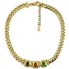 Vintage Grossé Gold Jewelled Chain Collar 1980s