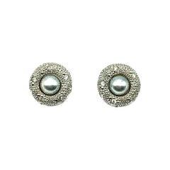 Vintage Grosse Grey Pearl & Crystal Earrings 1970s